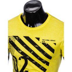 T-SHIRT MĘSKI Z NADRUKIEM S896 - ŻÓŁTY. Żółte t-shirty męskie z nadrukiem Ombre Clothing, m. Za 39,00 zł.