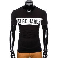 T-shirty męskie: T-SHIRT MĘSKI Z NADRUKIEM S977 - CZARNY