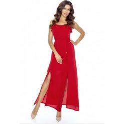 Czerwona Sukienka Długa Wieczorowa na Ramiączkach. Czerwone długie sukienki Molly.pl, na imprezę, s, z satyny, wizytowe, z falbankami, z długim rękawem, dopasowane. Za 219,90 zł.