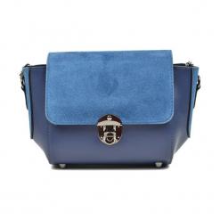 Skórzana torebka w kolorze niebieskim - (S)31 x (W)22 x (G)10 cm. Niebieskie torebki klasyczne damskie Akcesoria na sylwestrową noc, z materiału. W wyprzedaży za 219,95 zł.
