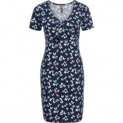 Sukienka shirtowa z przewiązaniem bonprix ciemnoniebieski z nadrukiem. Niebieskie sukienki z falbanami marki bonprix, z nadrukiem. Za 79,99 zł.