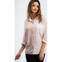 Koszule damskie: Pudrowo-ecru koszula w paski 21267