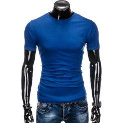 T-shirty męskie: T-SHIRT MĘSKI BEZ NADRUKU S884 – JASNOGRANATOWA