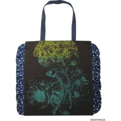 Brązowa torba bawełniana z kameleonami. Czarne shopper bag damskie marki KIPSTA, m, z elastanu, z długim rękawem, na fitness i siłownię. Za 65,00 zł.
