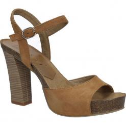 Camelowe sandały skórzane na słupku Nessi 18340. Czarne sandały damskie na słupku marki Nessi, z materiału. Za 248,99 zł.