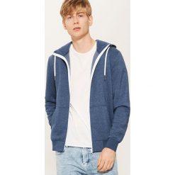 Rozpinana bluza basic - Niebieski. Niebieskie bluzy męskie rozpinane marki bonprix, m, melanż. Za 79,99 zł.