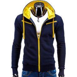 Bluzy męskie: BLUZA MĘSKA ROZPINANA Z KAPTUREM AMIGO – GRANATOWO-ŻÓŁTA