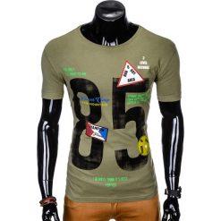 T-SHIRT MĘSKI Z NADRUKIEM S990 - KHAKI. Brązowe t-shirty męskie z nadrukiem marki Ombre Clothing, m. Za 29,00 zł.