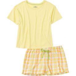 Piżamy damskie: Piżama z krótkimi spodenkami bonprix jasna limonka wzorzysty