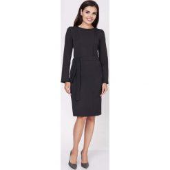 Sukienki: Czarna Ołówkowa Wyjściowa Sukienka z Wiązanym Paskiem