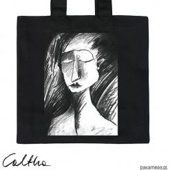 Szkic - torba premium. Czarne torebki klasyczne damskie Pakamera, z materiału. Za 79,00 zł.