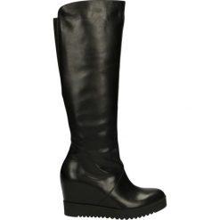 Kozaki - 9952 OPA NERO. Czarne buty zimowe damskie marki Kazar, z futra, przed kolano, na wysokim obcasie, na koturnie. Za 329,00 zł.