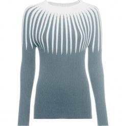 Sweter dzianinowy w paski bonprix srebrnoszaro-biały. Białe swetry klasyczne damskie bonprix, z dzianiny, ze stójką. Za 119,99 zł.