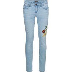 Dżinsy SKINNY z haftem bonprix jasnoniebieski denim. Zielone jeansy damskie marki bonprix, w kropki, z kopertowym dekoltem, kopertowe. Za 59,99 zł.