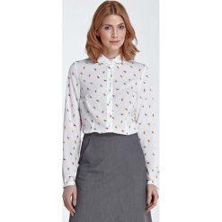 Bluzki damskie: Bluzka Koszulowa z Okrągłym Kołnierzykiem – Liście