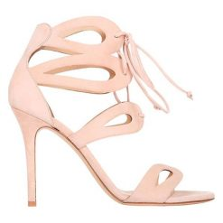 Sandały damskie: Skórzane sandały w kolorze pudrowym