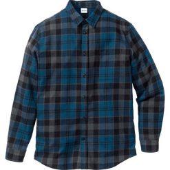 Koszula flanelowa Regular Fit bonprix niebieski w kratę. Niebieskie koszule męskie na spinki bonprix, l. Za 89,99 zł.