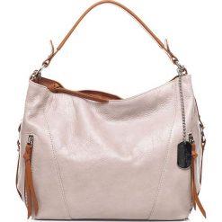 Torebki klasyczne damskie: Skórzana torebka w kolorze beżowym – 32 x 25 x 12 cm