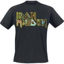 Iron Maiden Eddies Logo T-Shirt czarny. Czarne t-shirty męskie Iron Maiden, xxl, z nadrukiem, z klasycznym kołnierzykiem. Za 74,90 zł.