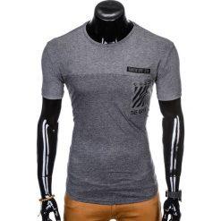 T-SHIRT MĘSKI Z NADRUKIEM S969 - GRAFITOWY. Czarne t-shirty męskie z nadrukiem marki Ombre Clothing, m, z bawełny, z kapturem. Za 29,00 zł.