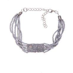Srebrna bransoletka z koralików QUIOSQUE. Szare bransoletki damskie na nogę QUIOSQUE, srebrne. W wyprzedaży za 16,00 zł.
