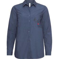 Bluzka bonprix indygo z nadrukiem. Niebieskie bluzki z odkrytymi ramionami marki bonprix, z nadrukiem. Za 49,99 zł.