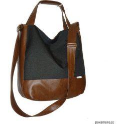 Shopper bag damskie: 5635 ankate, duża czarna torba na ramię, 2w1
