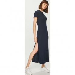 Tommy Hilfiger - Sukienka. Szare długie sukienki marki TOMMY HILFIGER, m, z nadrukiem, z bawełny, casualowe, z okrągłym kołnierzem. Za 299,90 zł.