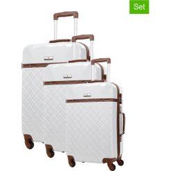 Zestaw walizek w kolorze białym - 3 szt. Białe walizki marki Platinium, z materiału. W wyprzedaży za 769,95 zł.