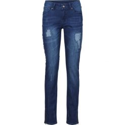 """Dżinsy Skinny z zamkami bonprix ciemnoniebieski """"stone"""". Niebieskie jeansy damskie marki House, z jeansu. Za 129,99 zł."""
