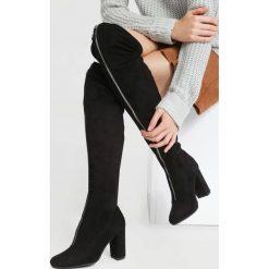Czarne Kozaki Lightning Bolt. Czarne buty zimowe damskie other, z materiału, na wysokim obcasie, na obcasie. Za 179,99 zł.