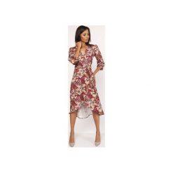 Asymetryczna, kopertowa sukienka, SUK161 wzór. Szare sukienki asymetryczne marki Lanti, z asymetrycznym kołnierzem. Za 189,00 zł.