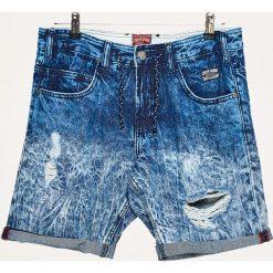Odzież męska: Jeansowe szorty z przetarciami - Granatowy