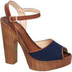 Sandały na obcasie Graceland niebieskie. Niebieskie sandały damskie marki Graceland, z materiału, na wysokim obcasie, na obcasie. Za 99,90 zł.