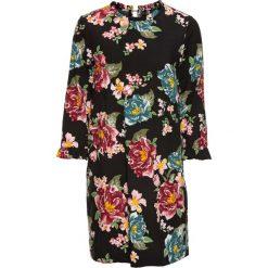 Sukienki: Sukienka z falbanką z wiskozy, bez podszewki bonprix czarny w kwiaty