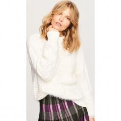 Sweter ze stójką - Kremowy. Niebieskie swetry klasyczne damskie marki ARTENGO, z elastanu, ze stójką. Za 79,99 zł.