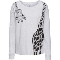 Bluza dresowa z nadrukiem żyrafy bonprix jasnoszary melanż. Szare bluzy z nadrukiem damskie bonprix, z dresówki. Za 74,99 zł.