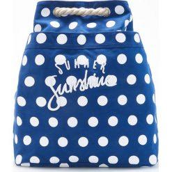 Plecaki damskie: Plecak typu worek w groszki - Granatowy