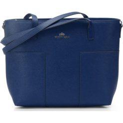 Torebka damska 86-4E-429-7. Niebieskie shopper bag damskie marki Wittchen, w paski, z tłoczeniem. Za 399,00 zł.