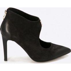 Carinii - Botki. Czarne buty zimowe damskie Carinii, z materiału, na obcasie. W wyprzedaży za 159,90 zł.