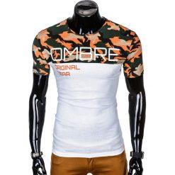 T-SHIRT MĘSKI Z NADRUKIEM S1003 - POMARAŃCZOWY/MORO. Czarne t-shirty męskie z nadrukiem marki Ombre Clothing, m, z bawełny, z kapturem. Za 35,00 zł.