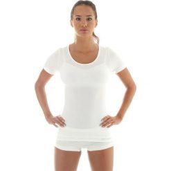 Bluzki damskie: Brubeck Koszulka damska z krótkim rękawem COMFORT WOOL biała r. L (SS11020)