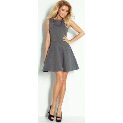 Sukienki: Amina Sukienka z zakładkami pod szyją – PIANKA – grafit melanż
