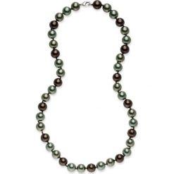 Naszyjniki damskie: Naszyjnik z pereł w kolorze jasnobrązowo-granatowo-nefrytowym – dł. 50 cm