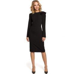 LISSETTE Sukienka z falbankami na ramieniu - czarna. Czarne sukienki balowe Moe, s, z falbankami, z długim rękawem, dopasowane. Za 154,90 zł.