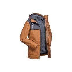 Kurtka 3w1 trekkingowa TRAVEL 100 męska. Brązowe kurtki męskie marki LIGNE VERNEY CARRON, m, z bawełny. Za 249,99 zł.
