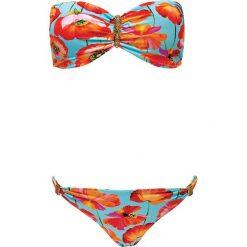 """Stroje dwuczęściowe damskie: Biustonosz bikini """"African Tulip"""" w kolorze turkusowym ze wzorem"""