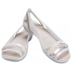 Crocs Sandały Damskie Isabella Huarache 2 Flat W, Oyster/Cobblestone w7 (37,5). Białe sandały damskie marki Coqui, na wysokim obcasie. Za 255,00 zł.