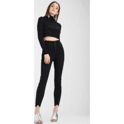 New Look HIGHWAIST PETAL Jeans Skinny Fit black. Czarne jeansy damskie relaxed fit marki New Look, z materiału, na obcasie. Za 139,00 zł.