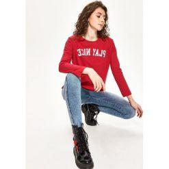 Bluzy rozpinane damskie: Bawełniana bluza - Czerwony